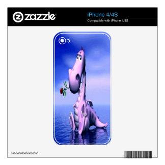 Piel rosada linda del iPhone 4 del dragón Calcomanía Para El iPhone 4