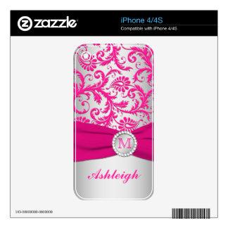 Piel rosada y de plata del iPhone 4/4s del damasco iPhone 4 Skin