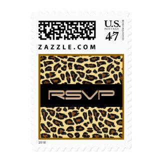 Piel RSVP del leopardo Timbres Postales