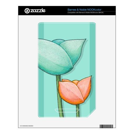 Piel simple de NOOKcolor del trullo de las flores Calcomanías Para NOOK Color