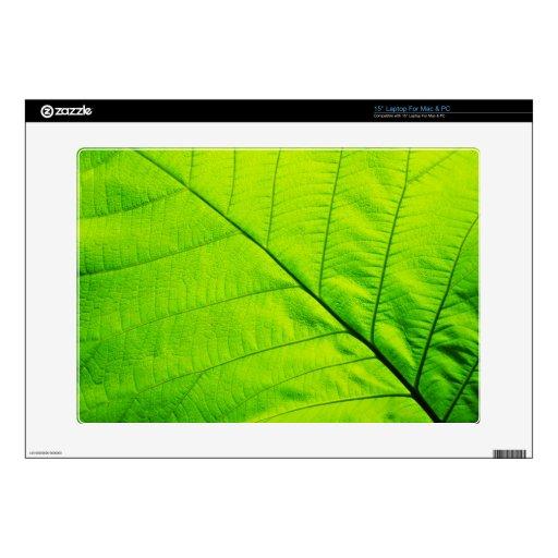 Piel verde de la hoja para el ordenador portátil portátil calcomanías