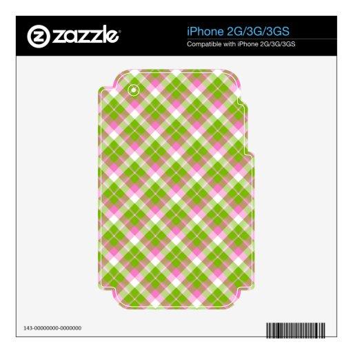 Piel verde rosada del iPhone 2G/3G/3GS de la tela  Skins Para iPhone 3G