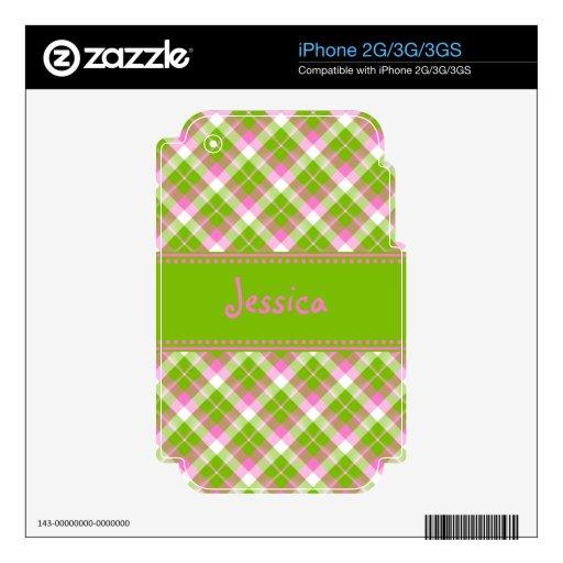 Piel verde rosada del iPhone 2G/3G/3GS de la tela  Skins Para eliPhone 3
