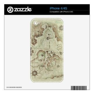 Piel vieja de Mapamundi para Iphone 4 4s Calcomanía Para iPhone 4S