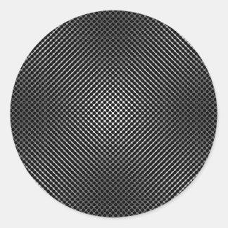 piel vo.1 de la fibra de carbono pegatina redonda