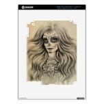 Pieles del iPad del dibujo del chica del cráneo de iPad 3 Pegatina Skin