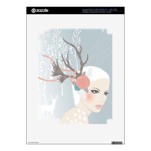 Pieles del iPad del dibujo del chica iPad 3 Pegatinas Skins