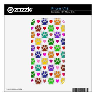 Pieles del iPhone de las PATAS del AMOR Calcomanías Para El iPhone 4