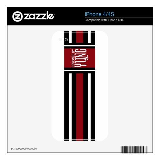 Pieles elegantes blancas rojas negras del personal iPhone 4S calcomanías