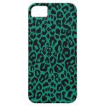 Pieles esmeralda del leopardo iPhone 5 protectores