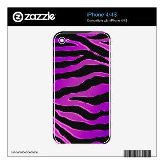Pieles rosadas y púrpuras eléctricas de la cebra calcomanía para iPhone 4S