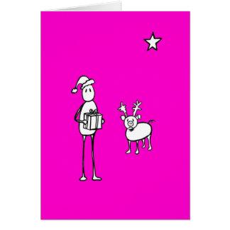 Pieman y Cristmas rosado del cerdo Tarjeta Pequeña