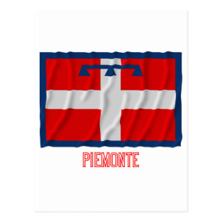 Piemonte waving flag with name postcard