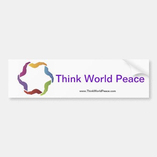 Piense a la pegatina para el parachoques de la paz pegatina de parachoque