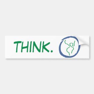 Piense a la pegatina para el parachoques de la tie etiqueta de parachoque