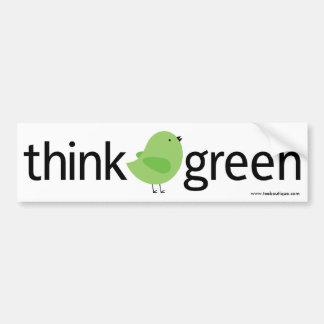 Piense a la pegatina para el parachoques verde del etiqueta de parachoque