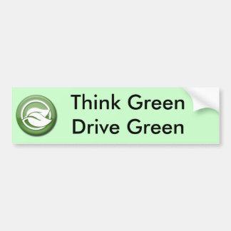 Piense a la pegatina para el parachoques verde del pegatina para auto
