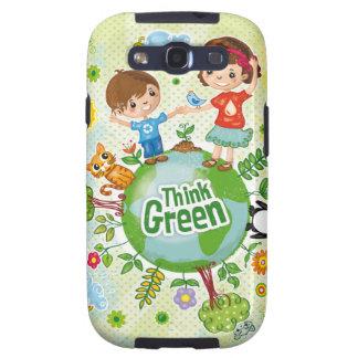 Piense a los niños verdes de Eco Galaxy S3 Funda