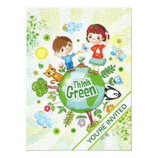 """Piense a los niños verdes de Eco Invitación 5.5"""" X 7.5"""""""