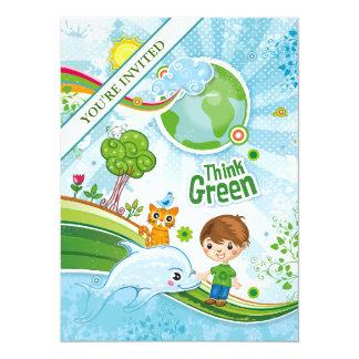 """Piense a los niños verdes invitación 5.5"""" x 7.5"""""""