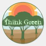 Piense a los pegatinas verdes etiquetas redondas