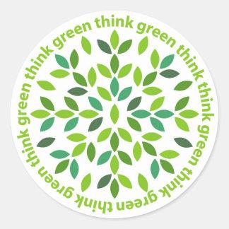 Piense a los pegatinas verdes pegatina redonda