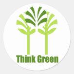 Piense a los pegatinas verdes pegatinas redondas