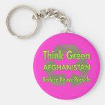 Piense Afganistán verde Llaveros Personalizados