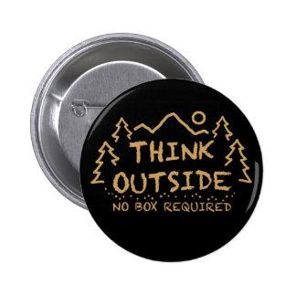 Piense afuera, ninguna caja requerida pin redondo 5 cm