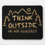 Piense afuera, ninguna caja requerida tapete de raton
