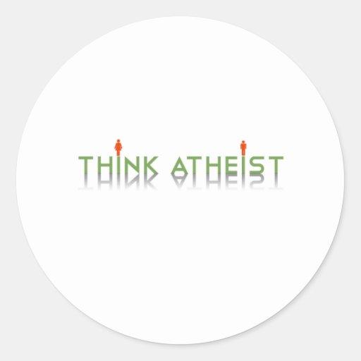 Piense al ateo pegatina redonda