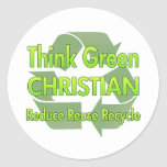 Piense al cristiano verde pegatinas redondas