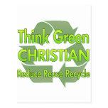 Piense al cristiano verde tarjetas postales