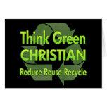 Piense al cristiano verde tarjeton
