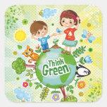 Piense al pegatina verde de los niños de Eco