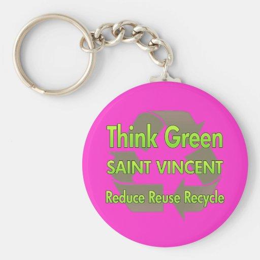 Piense al santo Vincent verde Llaveros