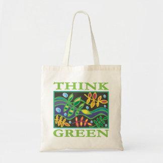 Piense ambiental verde bolsa tela barata
