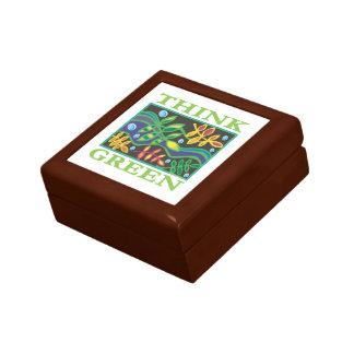 Piense ambiental verde cajas de joyas