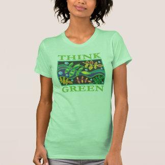 Piense ambiental verde camisetas