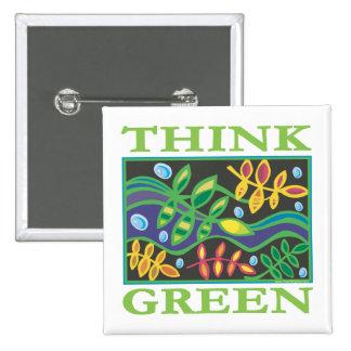Piense ambiental verde pin