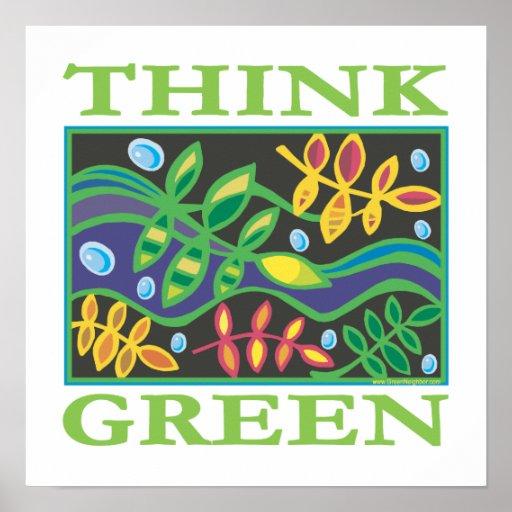 Piense ambiental verde póster
