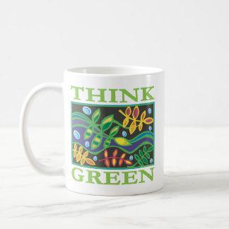 Piense ambiental verde tazas