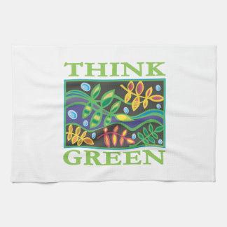 Piense ambiental verde toalla