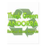 Piense Andorra verde Postal