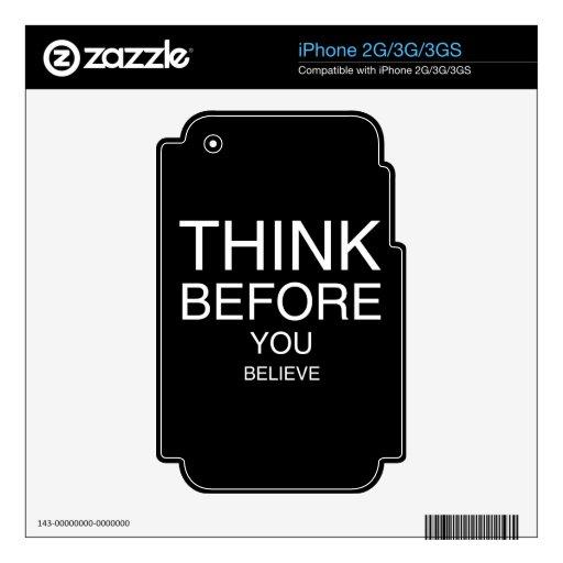 Piense antes de que usted crea (negro) iPhone 2G calcomanías