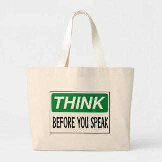 Piense antes de que usted hable bolsa