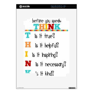 Piense antes de que usted hable calcomanías para iPad 2