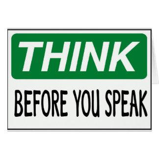 Piense antes de que usted hable tarjeton