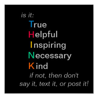 PIENSE - antes de que usted hable, texto, o poste Póster