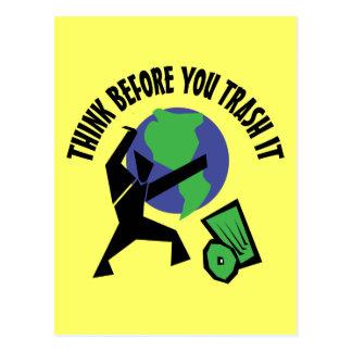 Piense antes de que usted Trash lo Tarjetas Postales